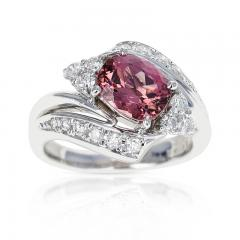 AGL CERTIFIED 2 17 CT NATURAL IMPERIAL PINK TOPAZ RING WITH DIAMONDS PLATINUM - 2086683