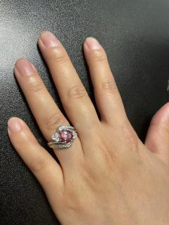 AGL CERTIFIED 2 17 CT NATURAL IMPERIAL PINK TOPAZ RING WITH DIAMONDS PLATINUM - 2086686