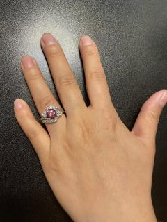 AGL CERTIFIED 2 17 CT NATURAL IMPERIAL PINK TOPAZ RING WITH DIAMONDS PLATINUM - 2086687