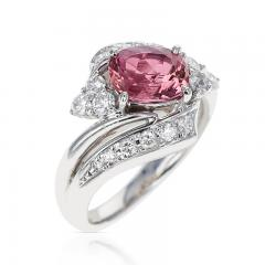 AGL CERTIFIED 2 17 CT NATURAL IMPERIAL PINK TOPAZ RING WITH DIAMONDS PLATINUM - 2086688