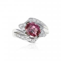 AGL CERTIFIED 2 17 CT NATURAL IMPERIAL PINK TOPAZ RING WITH DIAMONDS PLATINUM - 2086883