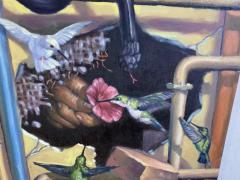 AMAZING SURREALIST MAN BEHIND WALL WITH SNAKES HUMMINGBIRDS PAINTING - 1619077