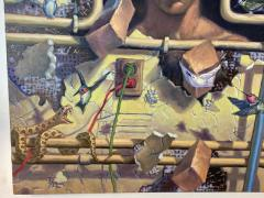 AMAZING SURREALIST MAN BEHIND WALL WITH SNAKES HUMMINGBIRDS PAINTING - 1619078