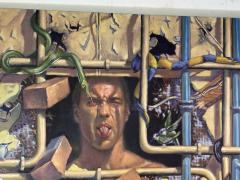 AMAZING SURREALIST MAN BEHIND WALL WITH SNAKES HUMMINGBIRDS PAINTING - 1619079