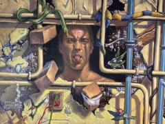 AMAZING SURREALIST MAN BEHIND WALL WITH SNAKES HUMMINGBIRDS PAINTING - 1619083