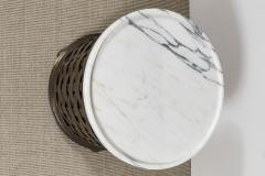 ANTIQUE FRENCH BRASS WOVEN BASE TABLE WITH A CONTEMPORARY MARBLE TOP - 1509906