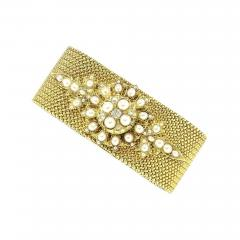 ANTIQUE GOLD BRACELET WITH PEARL AND DIAMONDS - 1944278