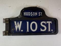 ANTIQUE NYC HUDSON STREET WEST 10TH STREET ENAMEL SIGN - 1448874