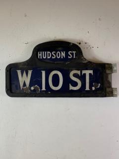 ANTIQUE NYC HUDSON STREET WEST 10TH STREET ENAMEL SIGN - 1448875