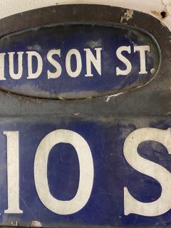 ANTIQUE NYC HUDSON STREET WEST 10TH STREET ENAMEL SIGN - 1448878