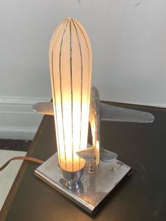 ART DECO AIRPLANE AND GLASS ZEPELLIN LAMP - 1963586