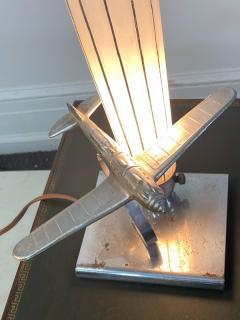 ART DECO AIRPLANE AND GLASS ZEPELLIN LAMP - 1963587