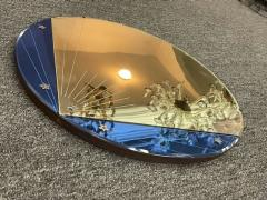 ART DECO CLEAR AND BLUE ROUND MIRROR WITH STAR ACCENTS - 2125854