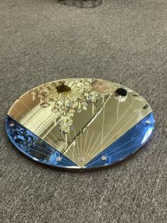 ART DECO CLEAR AND BLUE ROUND MIRROR WITH STAR ACCENTS - 2125857