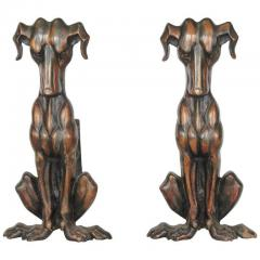 ART DECO COPPER DOG ANDIRONS A PAIR - 1046481