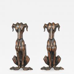 ART DECO COPPER DOG ANDIRONS A PAIR - 1048553