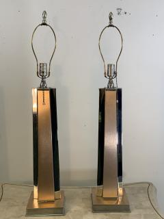 ART MODERNE PAIR OF ANNODIZED ALUMINUM AND CHROME LAMPS - 1033081