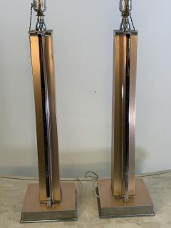 ART MODERNE PAIR OF ANNODIZED ALUMINUM AND CHROME LAMPS - 1033087