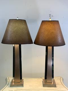 ART MODERNE PAIR OF ANNODIZED ALUMINUM AND CHROME LAMPS - 1033089