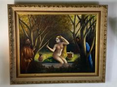 ATMOSPHERIC NUDE BATHING IN FOREST WITH WATCHERS PAINTING - 1569330