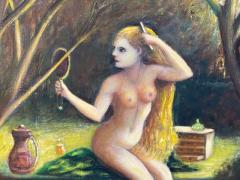ATMOSPHERIC NUDE BATHING IN FOREST WITH WATCHERS PAINTING - 1569333