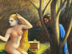 ATMOSPHERIC NUDE BATHING IN FOREST WITH WATCHERS PAINTING - 1569334