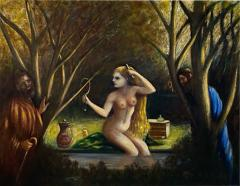 ATMOSPHERIC NUDE BATHING IN FOREST WITH WATCHERS PAINTING - 1569532