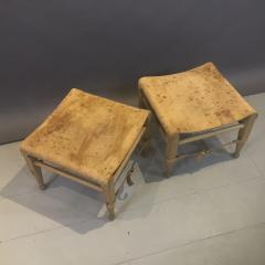 Aage Bruun S n 1960s Cognac Leather Oak Safari Stools - 1746528