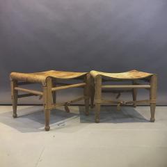 Aage Bruun S n 1960s Cognac Leather Oak Safari Stools - 1746531