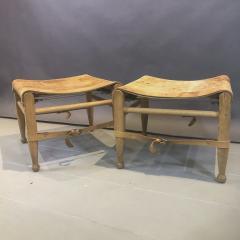 Aage Bruun S n 1960s Cognac Leather Oak Safari Stools - 1746540