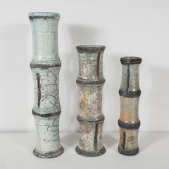 Abe Kiraku THREE RAKU CERAMIC VASES WITH BAMBOO PATTERN - 1674673