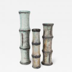 Abe Kiraku THREE RAKU CERAMIC VASES WITH BAMBOO PATTERN - 1676058