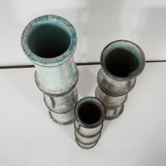 Abe Kiraku Three Raku Ceramic vases - 1467017