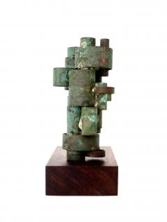 Abstract Copper Tubular Column Sculpture Set On A Walnut Base With Patina - 1315057