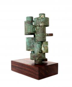 Abstract Copper Tubular Column Sculpture Set On A Walnut Base With Patina - 1315058