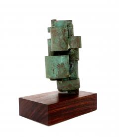Abstract Copper Tubular Column Sculpture Set On A Walnut Base With Patina - 1315060