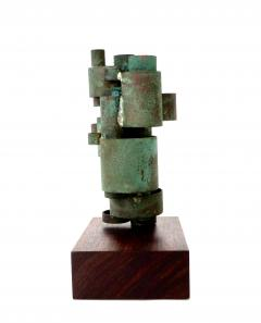 Abstract Copper Tubular Column Sculpture Set On A Walnut Base With Patina - 1315061