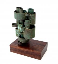 Abstract Copper Tubular Column Sculpture Set On A Walnut Base With Patina - 1315062
