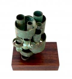 Abstract Copper Tubular Column Sculpture Set On A Walnut Base With Patina - 1315065