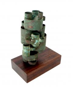 Abstract Copper Tubular Column Sculpture Set On A Walnut Base With Patina - 1315066