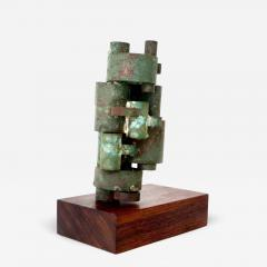 Abstract Copper Tubular Column Sculpture Set On A Walnut Base With Patina - 1315135