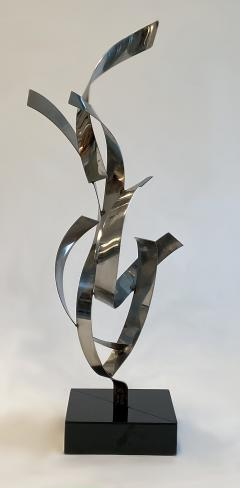 Abstract Floor Sculpture in Polished Chrome 1970s - 1282484