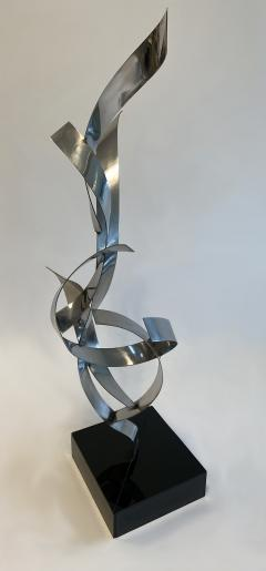 Abstract Floor Sculpture in Polished Chrome 1970s - 1282488