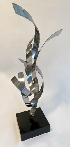 Abstract Floor Sculpture in Polished Chrome 1970s - 1282489