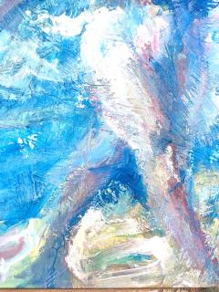 Abstract Impressionist Midcentury Oil Painting of Nude on Beach - 1397727