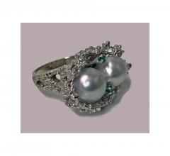 Abstract Modern Nugget 14K White Gold Pearl and Emerald Ring C 1970 - 474080