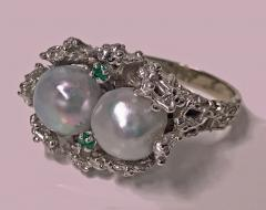 Abstract Modern Nugget 14K White Gold Pearl and Emerald Ring C 1970 - 474085