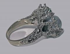 Abstract Modern Nugget 14K White Gold Pearl and Emerald Ring C 1970 - 474087