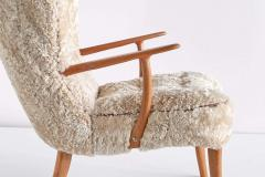 Acton Schubell Acton Schubell Ib Madsen Pragh Wingback Chair in Sheepskin Denmark 1950s - 1768215