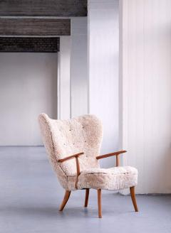 Acton Schubell Acton Schubell Ib Madsen Pragh Wingback Chair in Sheepskin Denmark 1950s - 1768220